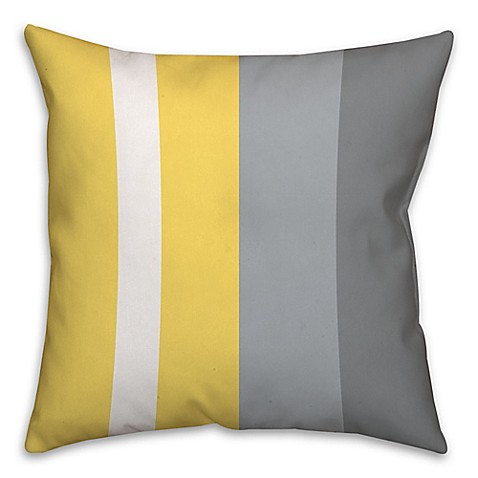 Striped Color Block Square Throw Pillow In Yellow Grey