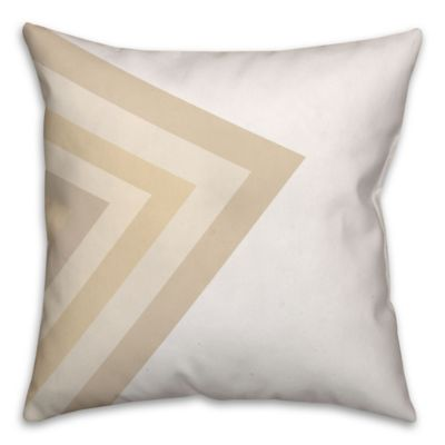 Striped Arrow Square Throw Pillow in Ivory