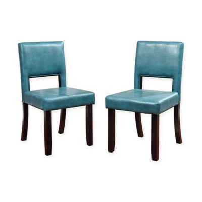 Linon Home Vega Dining Chairs in Blue (Set of 2)