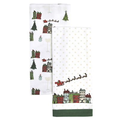 Santa Sleigh Combo Kitchen Towel in Red/Green (Set of 2)