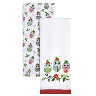 Holly Owls Trio Kitchen Towels in Red/Green (Set of 2)