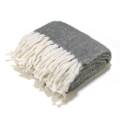 Aura Reversible Wool Blend Throw Blanket in Grey