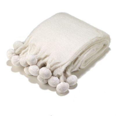 Aura Pompom Mohair Throw Blanket in Ivory