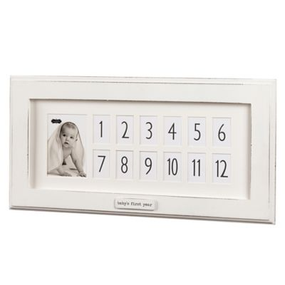 """Mud Pie """"Baby's First Year"""" 13-Photo Wood Picture Frame"""