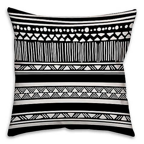 Buy Boho Tribal Square Throw Pillow in Black/White from Bed Bath & Beyond