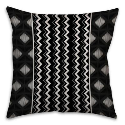 Chevron and Diamonds Boho Tribal Square Throw Pillow in Black/White