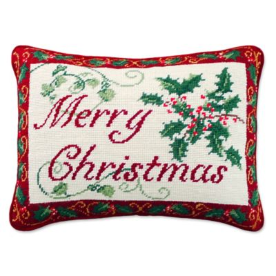Buy Merry Christmas Needlepoint Throw Pillow from Bed Bath & Beyond