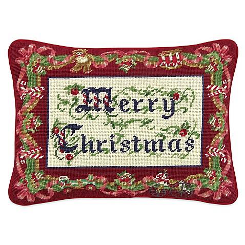 Merry Christmas Needlepoint Throw Pillow - Bed Bath & Beyond