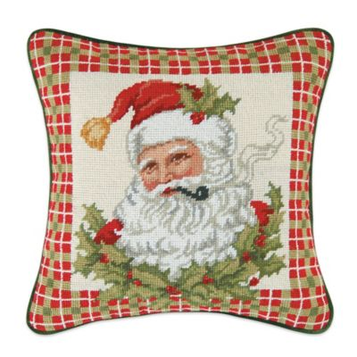 Santa in Holly Needlepoint Throw Pillow