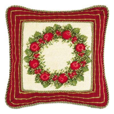 Apple Wreath Needlepoint Square Throw Pillow