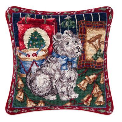 Scotty Dog Needlepoint Throw Pillow
