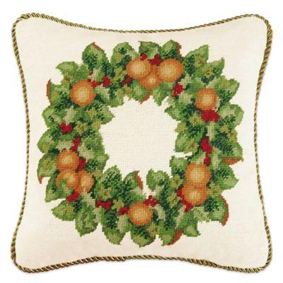 Orange Wreath Needlepoint Throw Pillow