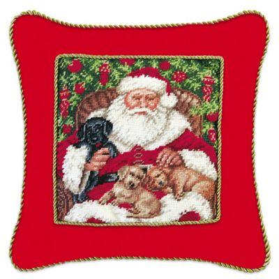 Santa with Pups Needlepoint Throw Pillow