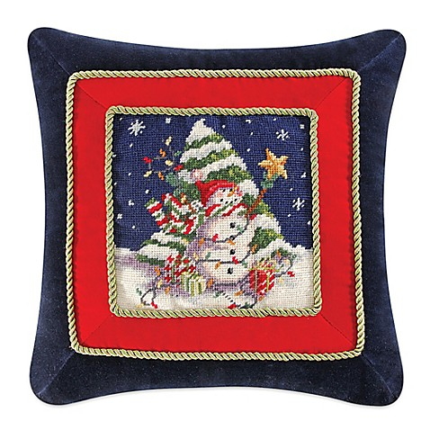 Snowman With Christmas Tree Needlepoint Square Throw