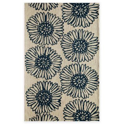 Rugs America Gramercy Daisy 2-Foot 3-Inch x 7-Foot 6-Inch Accent Rug in Navy
