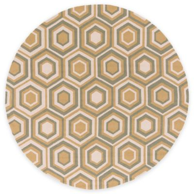 Surya Rain Pyramid 8-Foot Round Indoor/Outdoor Area Rug in Gold