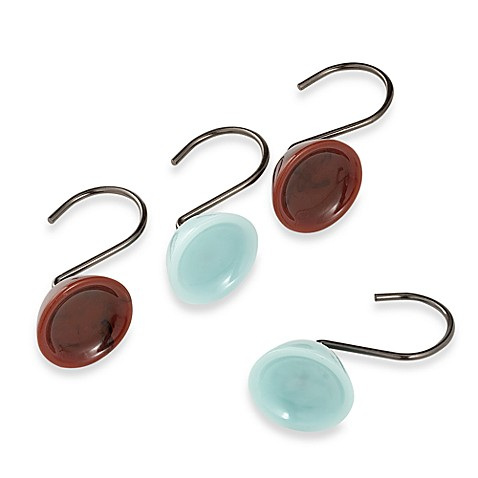 Croscill Oasis Brown and Aqua Shower Curtain Rings (Set of 12 ...