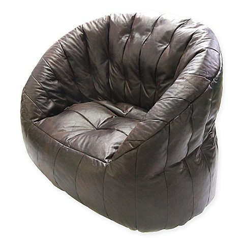 buy jumbo lumin faux leather bean bag arm chair in brown from bed bath beyond. Black Bedroom Furniture Sets. Home Design Ideas