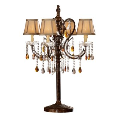 Verona Home Lynette Mini Shade 8-Light Table Lamp in Brown with Fabric Shades
