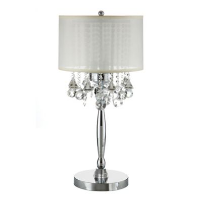 Verona Home Michelle Crystal 3-Light Table Lamp in Chrome with Fabric Shade