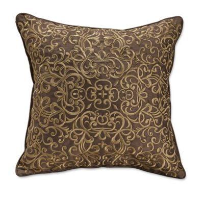 Croscill® Bradney Embroidered Scroll Throw Pillow in Brown/Gold