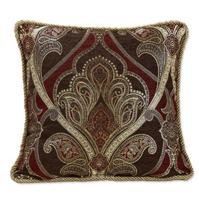 Croscill® Bradney Damask Throw Pillow in Red/Gold