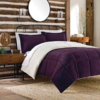 So Soft™ Plush 2-Piece Twin Reversible Comforter Set in Purple
