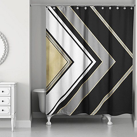 Arrow Shower Curtain In Black Gold White Grey