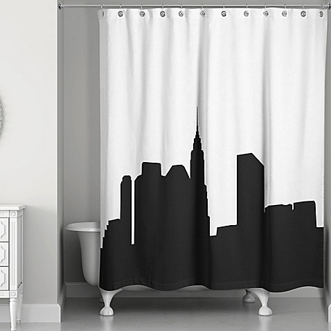 city skyline shower curtain in black white bed bath beyond