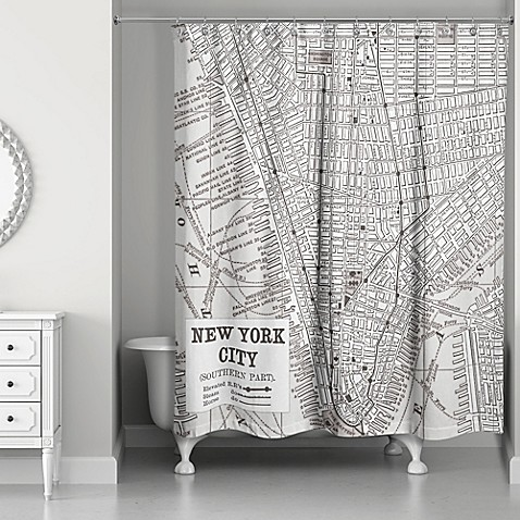 New York City Lines Map Shower Curtain In Black White Bed Bath Beyond