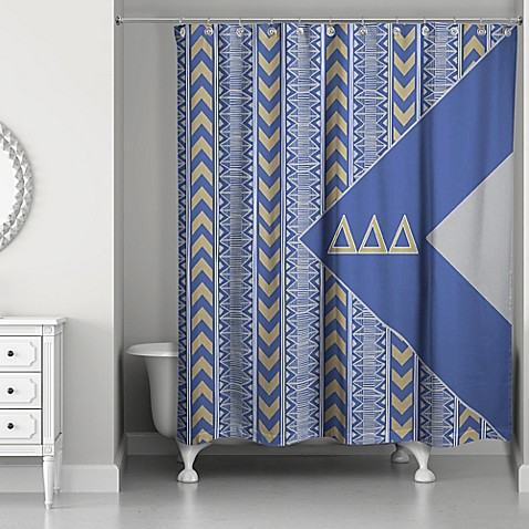 Delta Delta Delta Shower Curtain In Blue Grey Gold Bed Bath Beyond