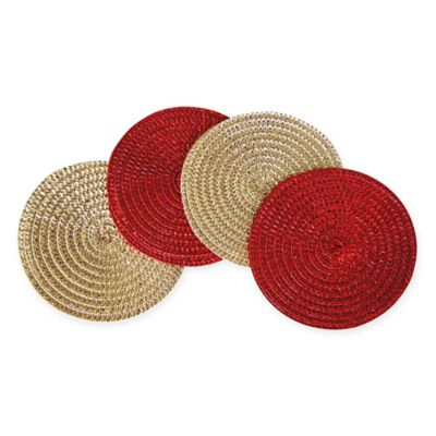 Shine Metallic Round Coaster Set of 4 in Red