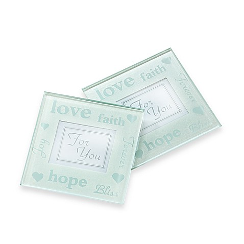 Kate Aspen® Good Wishes Pearlized Photo Coasters (Set of 2)