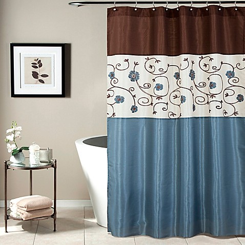 Royal garden shower curtain in blue bed bath beyond - Brown and light blue curtains ...