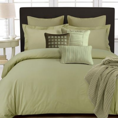 Tribeca Living 350-Thread-Count Cotton Percale Reversible King Duvet Cover Set in Green