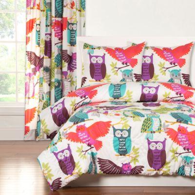 Crayola® Owl Always Love You 2-Piece Reversible Twin Comforter Set in Purple/Pink