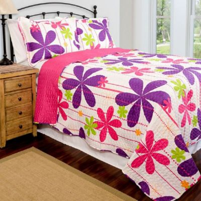 Pandora Reversible Twin Quilt Set in Pink/Purple/Lime