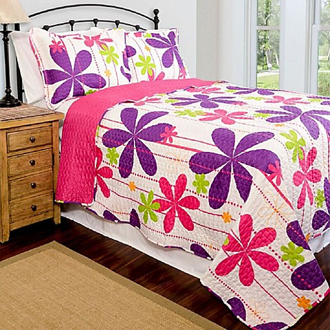 Pandora Reversible Quilt Set In Pink Purple Lime Bed