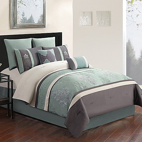 Montclair 8 Piece Comforter Set In Grey Blue Bed Bath Beyond