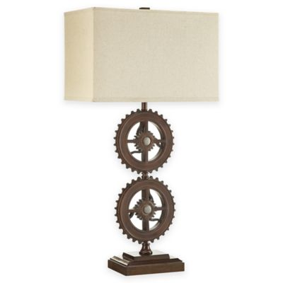 verona home orden industrial gear table lamp in rust. Black Bedroom Furniture Sets. Home Design Ideas