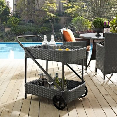 Modway Sojourn Outdoor Patio Beverage Cart in Chocolate