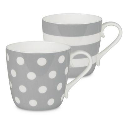 Konitz Dots and Stripes Mugs in Grey (Set of 2)