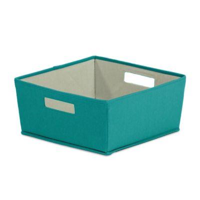 Buy b in fabric half storage bin in grey from bed bath for Teal bathroom bin