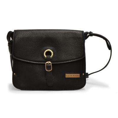 Adrienne Vittadini Pebble Grain Grommet Crossbody Bag in Black