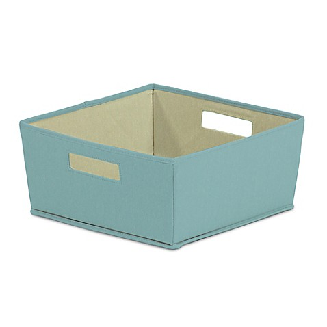 Buy b in pastel turquoise fabric half storage bin from for Turquoise bathroom bin