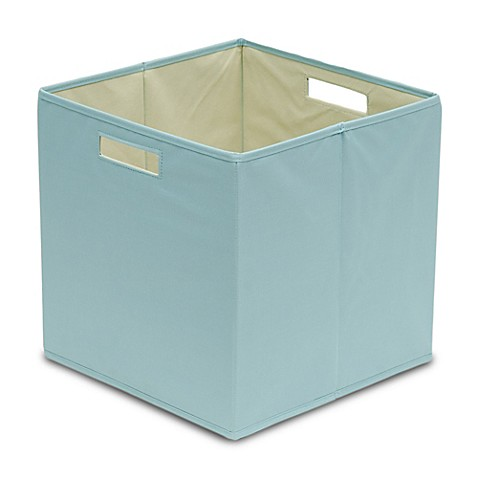 Buy b in pastel turquoise fabric full storage bin from for Turquoise bathroom bin
