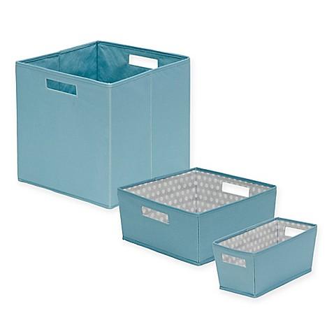 B in fabric storage bin in nile blue bed bath beyond for Blue bathroom bin