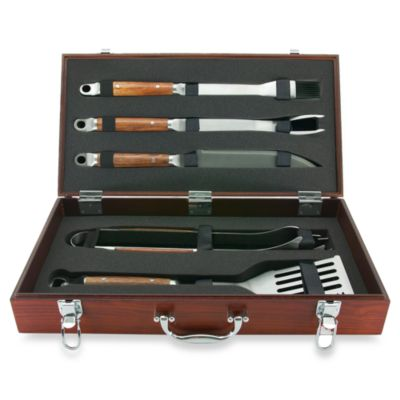 Rosewood Handle 5-Piece Tool Set in a Wood Case
