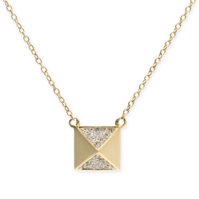 10K Yellow Gold .10 cttw Diamond 18-Inch Chain Square Pyramid Pendant Necklace