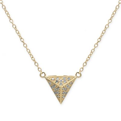 10K Yellow Gold .11 cttw Diamond 18-Inch Chain Pyramid Pendant Necklace